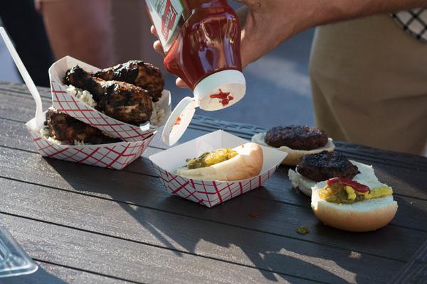 BBQ chicken and hamburgers
