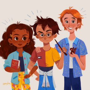 An illustration of Hermione Granger, Harry Potter, and Ron Weasley