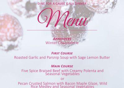 Dine for a Cause Gala Menu