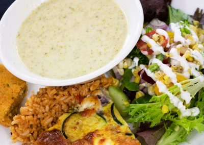 Cream of Broccoli Soup, Zucchini Quiche, Mexican Style Salad, Mexican Style Rice, Cornbread, and a Beet Brownie