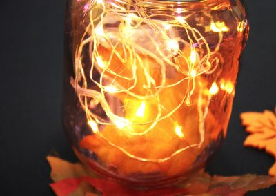 Mason jar filled with fairy lights