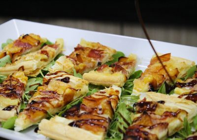 Phyllo pastry with prosciutto and balsamic glaze