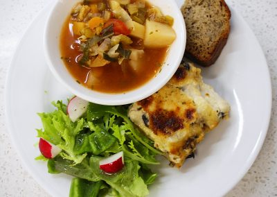 Squash and Mushroom Lasagna, Vegetable Soup, Garden Salad, and Banana Bread