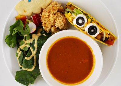 Tomato Soup, Taco, Garden Salad, Mexican Rice, and Shortbread Cookie
