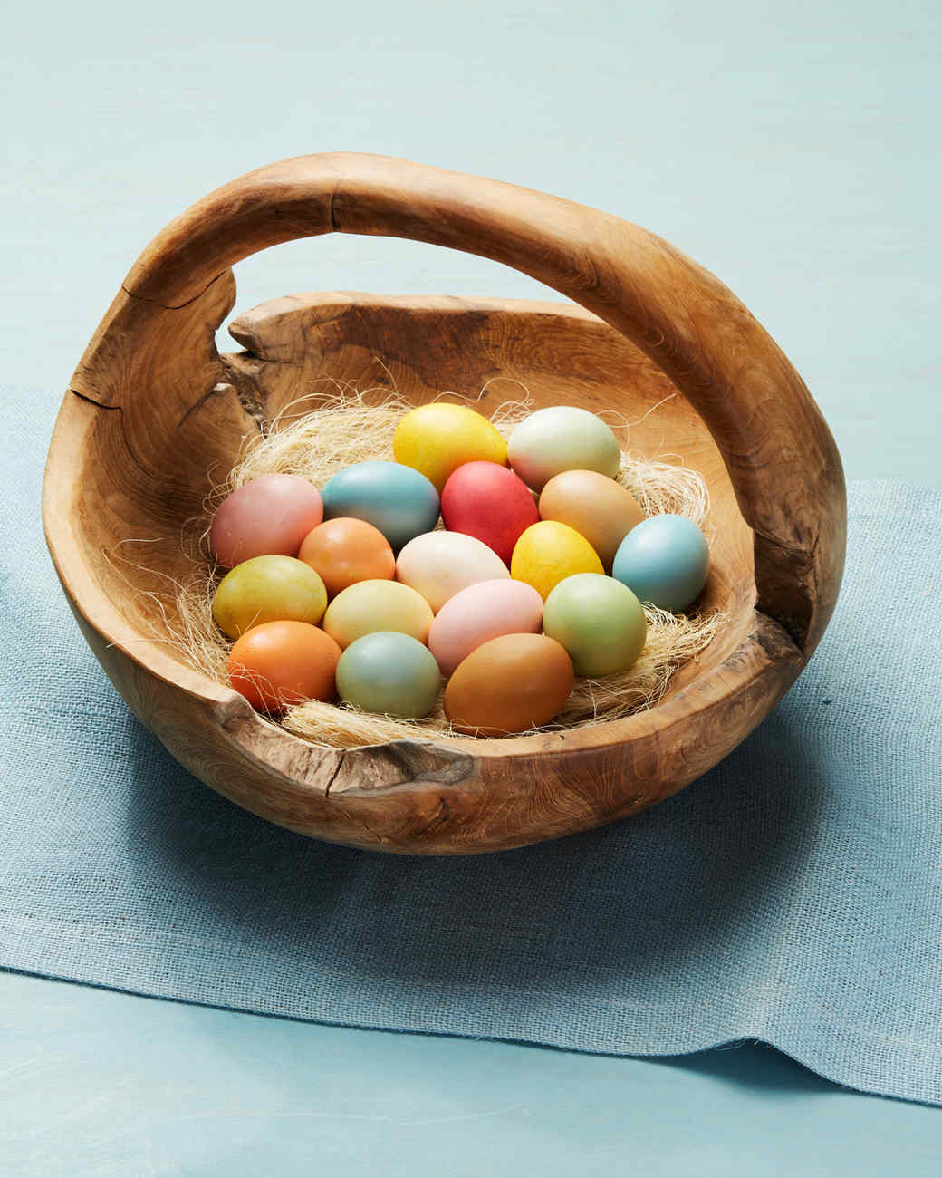 Basket of coloured Easter eggs