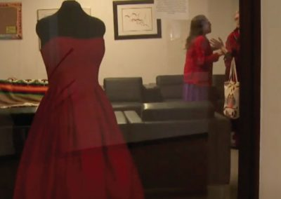 Red dress in a window display