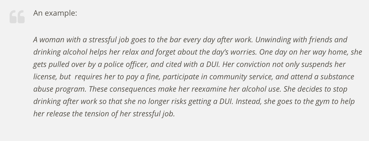 An example:  A woman with a stressful job goes to the bar every day after work. Unwinding with friends and drinking alcohol helps her relax and forget about the day's worries. One day on her way home, she gets pulled over by a police officer, and cited with a DUI. Her conviction not only suspends her license, but  requires her to pay a fine, participate in community service, and attend a substance abuse program. These consequences make her reexamine her alcohol use. She decides to stop drinking after work so that she no longer risks getting a DUI. Instead, she goes to the gym to help her release the tension of her stressful job.