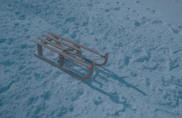 toboggan on a snowy hill